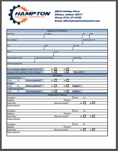 Employment Application for Hampton Industrial Inc.